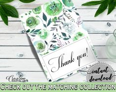 Thank You Card Bridal Shower Thank You Card Botanic Watercolor Bridal Shower Thank You Card Bridal Shower Botanic Watercolor Thank You 1LIZN #bridalshower #bride-to-be #bridetobe