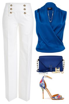 A fashion look from August 2016 featuring loose fitting shirts, wide leg summer pants and dolce gabbana sandals. Browse and shop related looks. Business Dresses, Business Outfits, Business Attire, Classy Outfits, Chic Outfits, Fashion Outfits, Womens Fashion, Mode Chic, Professional Outfits