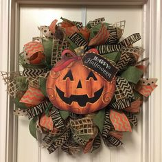 Your place to buy and sell all things handmade Excited to share this item from my shop: Halloween Wreath, Trick or Treat Pumpkin Wreath, Zebra Happy Halloween Mesh Halloween Wreath, Burlap Wreath Diy Fall Wreath, Wreath Crafts, Holiday Wreaths, Wreath Burlap, Wreath Ideas, Tulle Wreath, Winter Wreaths, Thanksgiving Wreaths, Spring Wreaths