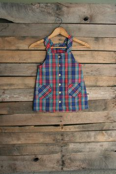 Vintage Children's Blue Green & Red Plaid Jumper by by vintapod