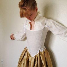 18th century Stays Colonial Corset in Linen, Steel Boned, for Rococo, Georgian, Marie Antoinette, Revolutionary War, Pirate costume size XS