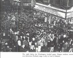 Students rally in downtown Portland the night before the Washington-Oregon football game 1940 at Multnomah Civic Stadium.  From the 1941 Oregana (University of Oregon yearbook).  www.CampusAttic.com