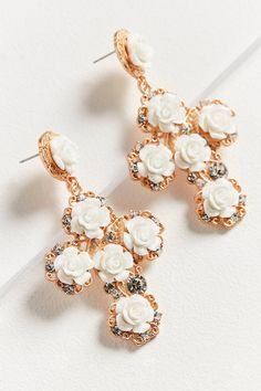ZHUU Rose Cross Statement Earring | Urban Outfitters