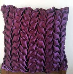 18 x18 Decorative Satin Throw Pillows Cover in Purple Canadian Smocking Accent Pillows Sofa Pillows Cushion Cover Home Décor