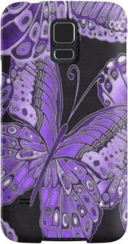 Purple and Black Butterfly Pattern | Snap Cases, Tough Cases, & Skins for iPhones 4s/4 5c/5s/5 6Plus & Samsung S3/S4/S5 Galaxy Phones. **All designs available for all models.