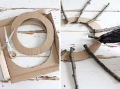 Herbstkranz Basis Pappe The Effective Pictures We Offer You About DIY Wreath base A quality picture Twig Crafts, Wreath Crafts, Home Crafts, Diy And Crafts, Advent Wreath, Fun Crafts, Easy Christmas Crafts, Simple Christmas, Christmas Wreaths