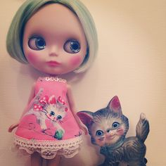 Pastel green bob  kitten dress