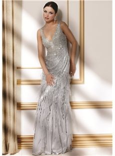 Attractive Beading/Sequins Tiered Sheath/Column V-Neck Floor-Length fairy Mother of the Bride Dresses