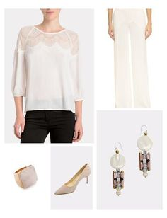 Ditch the dress for your next event, and instead opt for chic ivory separates like this lace blouse from cupcakes & cashmere and elegant white leg pants.