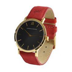 Larsson & Jennings Resurgence Gold & Black Watch - Red Suede Strap