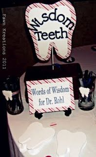 Dental graduation party: wisdom teeth! Tooth-shaped pieces of paper for writing advice and well-wishes to the new grad!