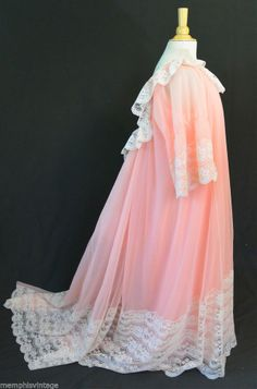 Vintage 60s INTIME California Peignoir Robe Gown Nightgown SET Romatic Lace S M