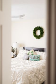A bedroom fit for the holidays, styled by Sparkling Footsteps.
