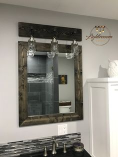 7 Astounding Unique Ideas: Wall Mirror Decoration Dreams wall mirror with storage small spaces.Wall Mirror With Shelf Antiques. Wood Bathroom, Bathroom Sets, Small Bathroom, Mirror Bathroom, Light Bathroom, Natural Bathroom, Master Bathroom, Bathroom Cabinets, Bathroom Images