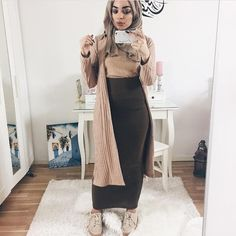 "Me @mariammoufid wearing a long cardigan from @nakdfashion .Use My code ""20Mariam"" for 20 % discount. For more pictures visit My blog (link in bio)  Skirt @glammodestythelabel"