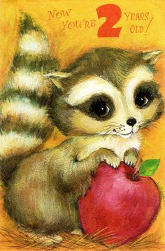Big-Eyed Raccoon Birthday Card For two/ 2 Year Old Child 1960's Vintage. 3.00, via Etsy.