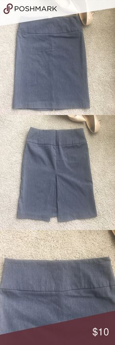 Cute gray Pencil skirt Cute gray pencil skirt with high slit behind. Stretches! Invisible zipper behind. Size M Charlotte Russe Skirts Pencil