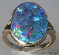 Antique Art Deco RARE Black Rainbow Natural Opal 10K Solid Gold Cocktail Ring | eBay #opalsaustralia
