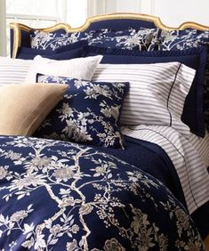 My new bedding- minus the gold accents…i have grey headboard. Blue & White Ralph Lauren Home 2013 - Featured at House Beautiful Beautiful Bedrooms, Beautiful Homes, House Beautiful, Home Bedroom, Bedroom Decor, Navy Bedrooms, Ralph Lauren, White Rooms, White Houses