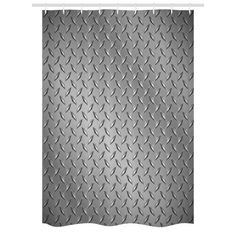 Grey Stall Shower Curtain, Cross Wire Fence Netting Display with Diamond Plate Effects Chrome Kitsch Motif Print, Fabric Bathroom Set with Hooks, 54W X 78L Inches, Silver, by Ambesonne - Walmart.com