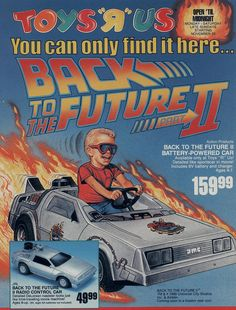 """A November 1989 Toys R Us ad page for two toys featuring the modified DeLorean from """"Back to the Future Part II"""""""