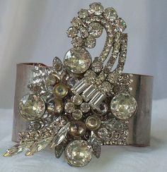 Bridal couture rhinestone cuff bracelet, statement piece, vintage rhinestones, One of a kind, adjustable, Hopscotch22.etsy.com