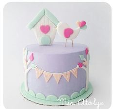 Lavender, Pink & Mint Birds and Bunting Cake Pretty Cakes, Beautiful Cakes, Fondant Cakes, Cupcake Cakes, Fete Emma, Girly Cakes, Just Cakes, First Birthday Cakes, Novelty Cakes