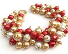 Chaud rose anis et perle noire Bracelet cadeau pour par KIMMSMITH