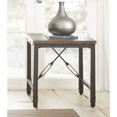 Glenni Solid Wood End Table with Storage Gray decor Pinterest