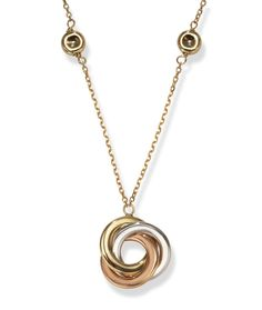 Tri Color Gold Italian Circle Necklace