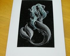 Machine embroidered hand finished Card. Magical Mermaid -    Edit Listing  - Etsy
