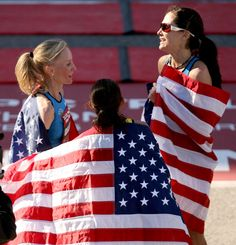Image detail for -HOUSTON, TX - JANUARY 14: (L-R) Desiree Davila, Shalane Flanagan, and Kara Goucher celebrate with American flags after the U.S. Marathon Olympic Trials January 14, 2012 in Houston, Texas. (Photo by Thomas