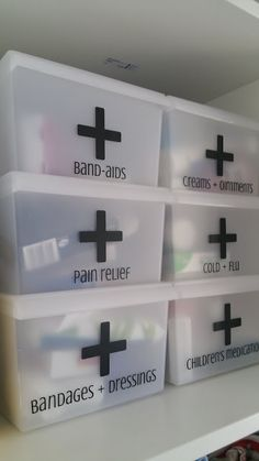 First Aid Organization Boxes. I need to do this in our closet. It would make our medicine take up so much less space. Organize, Declutter, Best medicine cabinet organization ideas. More