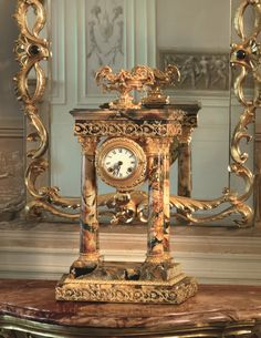 These clocks embody all the opulence and style of Baldi design. Elegant and decorative, they add a touch of personality to every luxury villas. Baldi figures Temple clock in Breche du Bearn marble and gold plated bronze Gold Accessories, Decorative Accessories, Classic Artwork, Luxury Villa, Personality, Marble, Clock, Bronze, Interiors