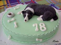 My border collie cake Birthday Cake For Mum, Funny Birthday Cakes, Dad Cake, 50th Cake, Cupcakes, Cupcake Cakes, Cake Borders, Puppy Cake, Fondant Animals
