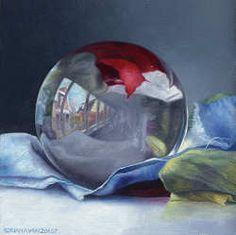 De volle bol   schilderij van een spiegelbol in olieverf van Adriana van Zoest   Exclusieve kunst online te koop in de webshop van Galerie Wildevuur