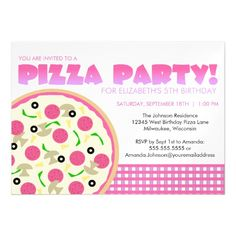 Pink and Purple Pizza Party Magnetic Card
