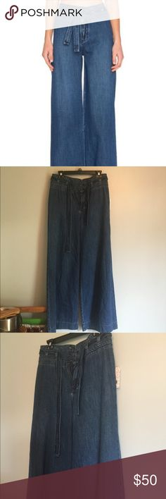 Free People Wide Leg Pants NWT. If you enjoy bohemian style dressing, then these are for you! Wide leg pants with buttons and ties up top. Pair with your favorite booties for fall. Multiple sizes available Free People Jeans Flare & Wide Leg