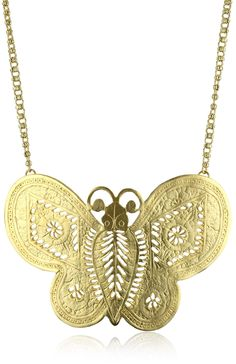 Amazon: Kenneth Jay Lane Gold Butterfly Necklace: Pendant Necklaces: Clothing