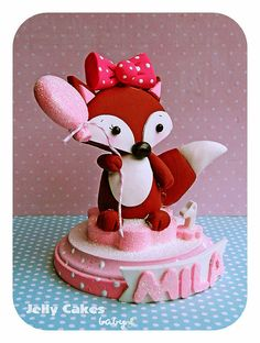 Sweet Fox topper for baby shower or baby's 1st birthday by Jelly Cakes Designs