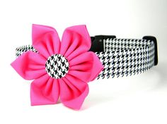 Flower Dog Collar: Black and White Houndstooth... Red, Pink, Lime, or Turquoise Flower