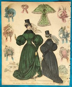 Description: A splendid green riding habit and shown from the reverse in blue. Both lovely deep and rich colours. The lady has little pantalettes peeping out from under her skirt. Also various accessories. Handcoloured in the era, over 180 years old. Publication: Unstated. Judging