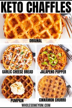 Keto Chaffles Recipe – Sweet & Savory 5 Ways - All the secrets of how to make CHAFFLES perfectly! Includes the best basic keto chaffles recipe, sweet chaffles (cinnamon churro + pumpkin), savory chaffles (jalapeno popper + garlic parmesan), tips, tri Ketogenic Recipes, Low Carb Recipes, Real Food Recipes, Diet Recipes, Ketogenic Diet, Slimfast Recipes, Shake Recipes, Bread Recipes, Leptin Diet