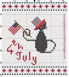 Happiness is Cross Stitching : Freebie Friday - American Independance Day Mini Cat Cross Stitch Pattern