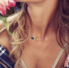 14kt gold and diamond emerald six sapphire drip necklace – Luna Skye by Samantha Conn