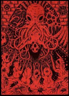 Cthulhu lovecraft art dark fantasy print in 2019 cthulhu : h Cthulhu Tattoo, Cthulhu Art, Lovecraft Cthulhu, Hp Lovecraft, Call Of Cthulhu, Arte Horror, Horror Art, Dibujos Dark, Lovecraftian Horror