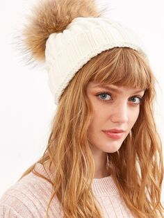 24da10c297 White Ribbed Detachable Pom Pom Hat -SheIn(Sheinside) Fox Fur, Pom Pom