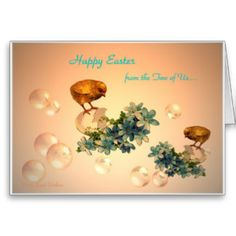 Happy Easter Chicks and bubbles Card