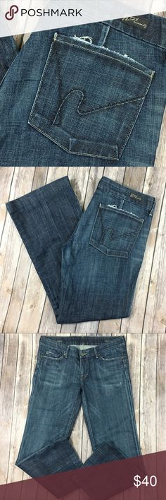 """Citizens of Humanity Jeans Faye Full Wide Leg 32 Tag Size - 32 Waist Measured Across - 17.5"""" Inseam - 29"""" The cuffs have been hemmed. Rise - 8"""" Fabric Content - 98% cotton 2% polyurethane Great used condition! Citizens Of Humanity Jeans Flare & Wide Leg"""