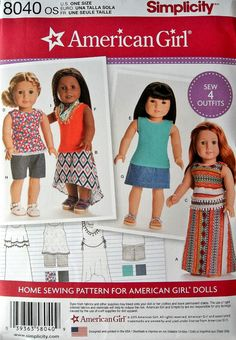 Simplicity Patterns American Girl Doll Clothes for 18 Inch Doll Size: Os (One Size), American girl doll wardrobe features knit & woven tops with optional trim, skirts in three lengths, shorts, and a scarf with Fringe trim. American girl for simplicity. Sewing Doll Clothes, Girl Doll Clothes, Doll Clothes Patterns, Clothing Patterns, Girl Dolls, Doll Patterns, Ag Dolls, Girl Clothing, Clothing Stores